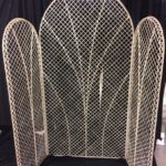 Screen, wicker with fan decoration