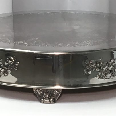 """Cake Plateau: 18"""" Round Silverplate (with Flowers) $12.00+"""