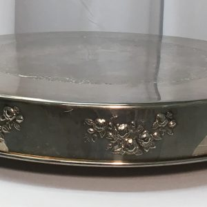 "Cake Plateau: 22"" Round Silverplate (with Flowers) $14.00+"