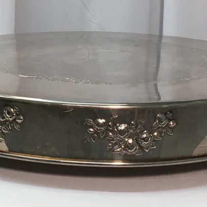 """Cake Plateau: 22"""" Round Silverplate (with Flowers) $14.00+"""